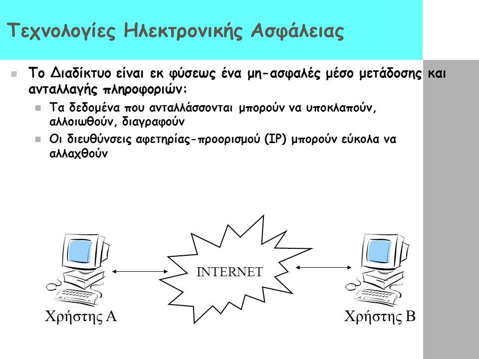Τεχνολογίες Ηλεκτρονικής Ασφάλειας Το Διαδίκτυο είναι εκ φύσεως ένα μη-ασφαλές μέσο μετάδοσης και ανταλλαγής πληροφοριών: Τα δεδομένα που ανταλλάσσοντ