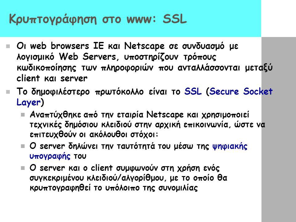 Κρυπτογράφηση στο www: SSL Οι web browsers IE και Netscape σε συνδυασμό με λογισμικό Web Servers, υποστηρίζουν τρόπους κωδικοποίησης των πληροφοριών π