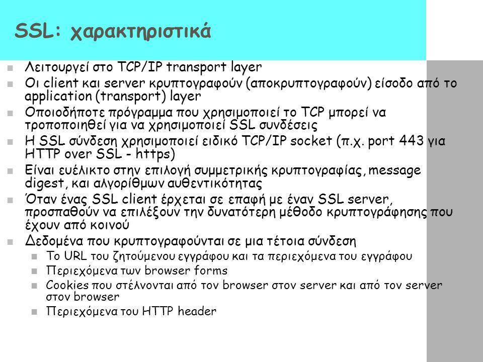 SSL: χαρακτηριστικά Λειτουργεί στο TCP/IP transport layer Οι client και server κρυπτογραφούν (αποκρυπτογραφούν) είσοδο από το application (transport)