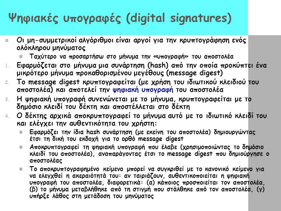 Ψηφιακές υπογραφές (digital signatures) Οι μη-συμμετρικοί αλγόριθμοι είναι αργοί για την κρυπτογράφηση ενός ολόκληρου μηνύματος Ταχύτερο να προσαρτήσω
