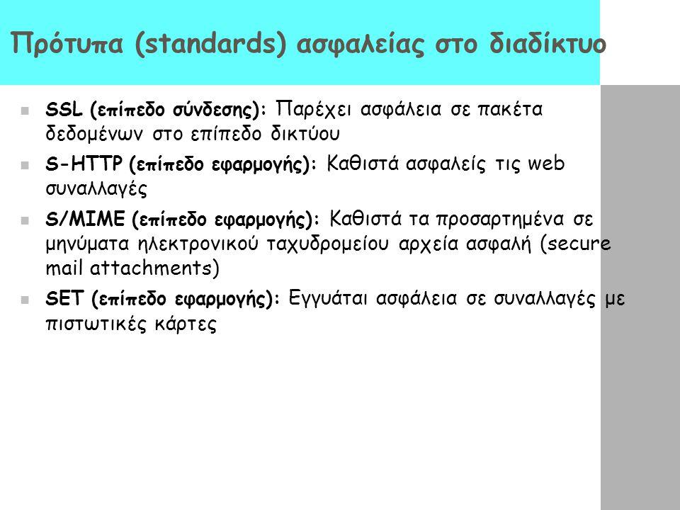 Πρότυπα (standards) ασφαλείας στο διαδίκτυο SSL (επίπεδο σύνδεσης): Παρέχει ασφάλεια σε πακέτα δεδομένων στο επίπεδο δικτύου S-HTTP (επίπεδο εφαρμογής