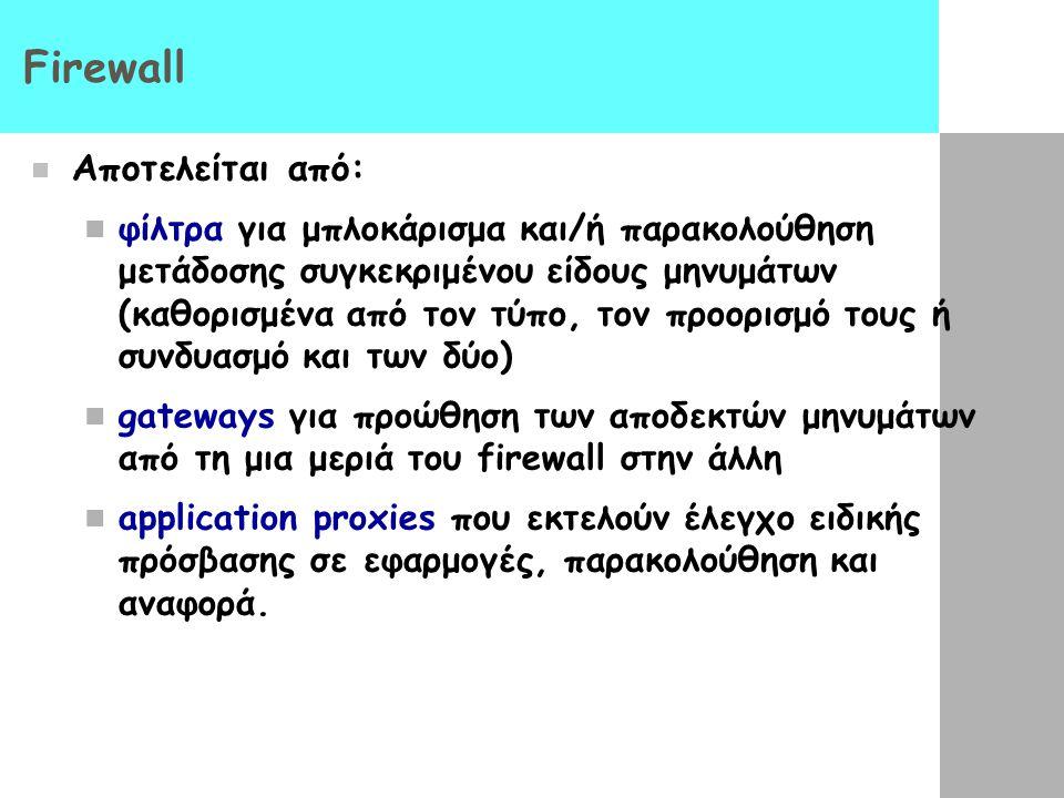 Firewall Αποτελείται από: φίλτρα για μπλοκάρισμα και/ή παρακολούθηση μετάδοσης συγκεκριμένου είδους μηνυμάτων (καθορισμένα από τον τύπο, τον προορισμό