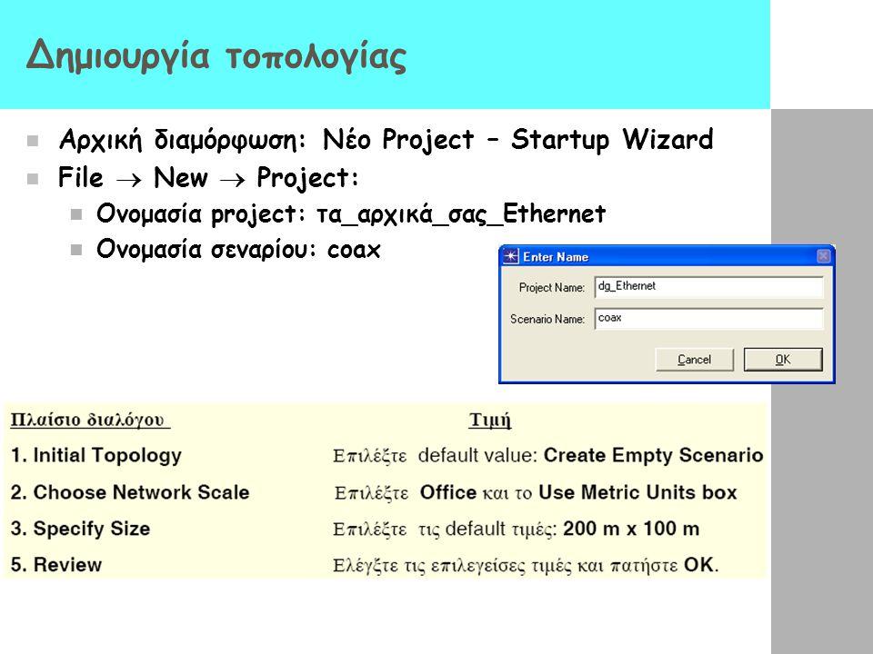 Δημιουργία τοπολογίας Αρχική διαμόρφωση: Νέο Project – Startup Wizard File  New  Project: Ονομασία project: τα_αρχικά_σας_Ethernet Ονομασία σεναρίου