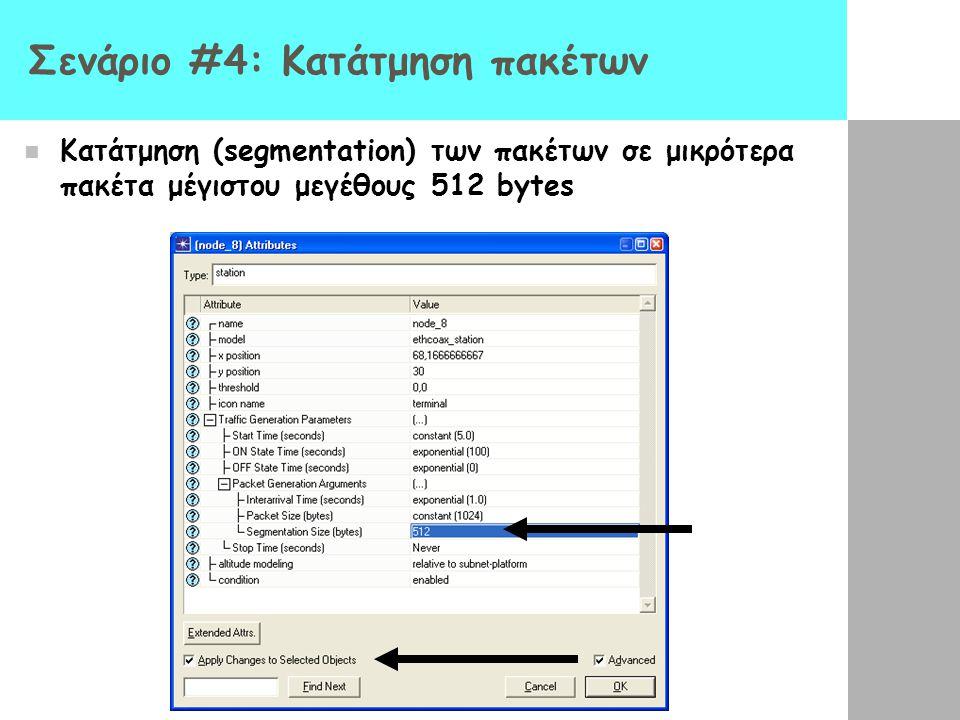 Σενάριο #4: Κατάτμηση πακέτων Κατάτμηση (segmentation) των πακέτων σε μικρότερα πακέτα μέγιστου μεγέθους 512 bytes