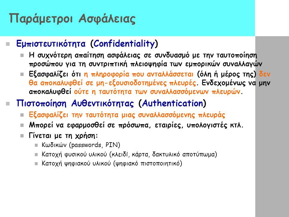 Παράμετροι Ασφάλειας Εμπιστευτικότητα (Confidentiality) Η συχνότερη απαίτηση ασφάλειας σε συνδυασμό με την ταυτοποίηση προσώπου για τη συντριπτική πλε