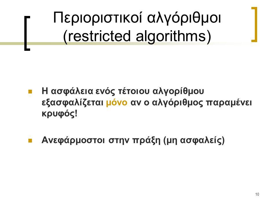 10 Περιοριστικοί αλγόριθμοι (restricted algorithms) Η ασφάλεια ενός τέτοιου αλγορίθμου εξασφαλίζεται μόνο αν ο αλγόριθμος παραμένει κρυφός! Ανεφάρμοστ
