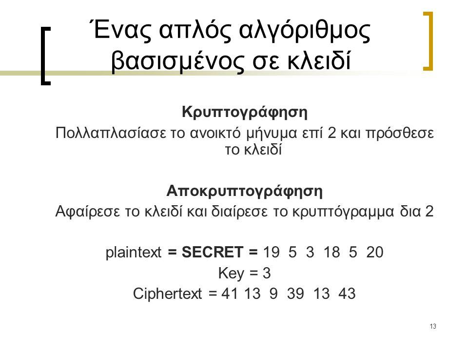 13 Ένας απλός αλγόριθμος βασισμένος σε κλειδί Κρυπτογράφηση Πολλαπλασίασε το ανοικτό μήνυμα επί 2 και πρόσθεσε το κλειδί Αποκρυπτογράφηση Αφαίρεσε το