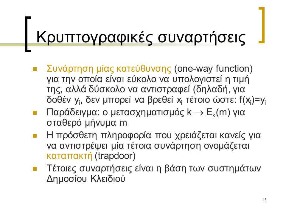 16 Κρυπτογραφικές συναρτήσεις Συνάρτηση μίας κατεύθυνσης (one-way function) για την οποία είναι εύκολο να υπολογιστεί η τιμή της, αλλά δύσκολο να αντι