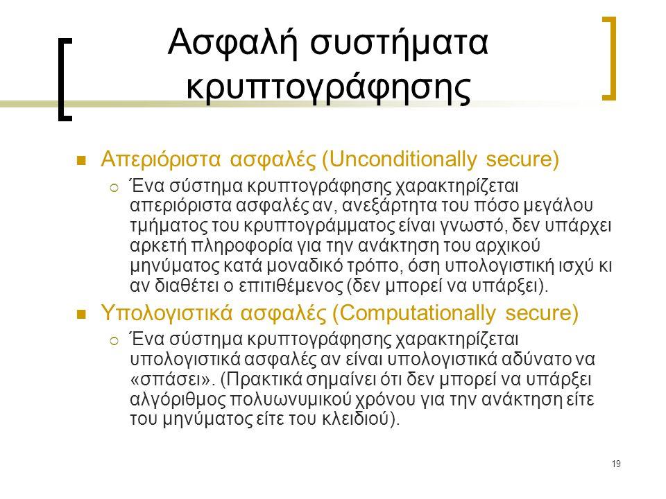 19 Ασφαλή συστήματα κρυπτογράφησης Απεριόριστα ασφαλές (Unconditionally secure)  Ένα σύστημα κρυπτογράφησης χαρακτηρίζεται απεριόριστα ασφαλές αν, αν