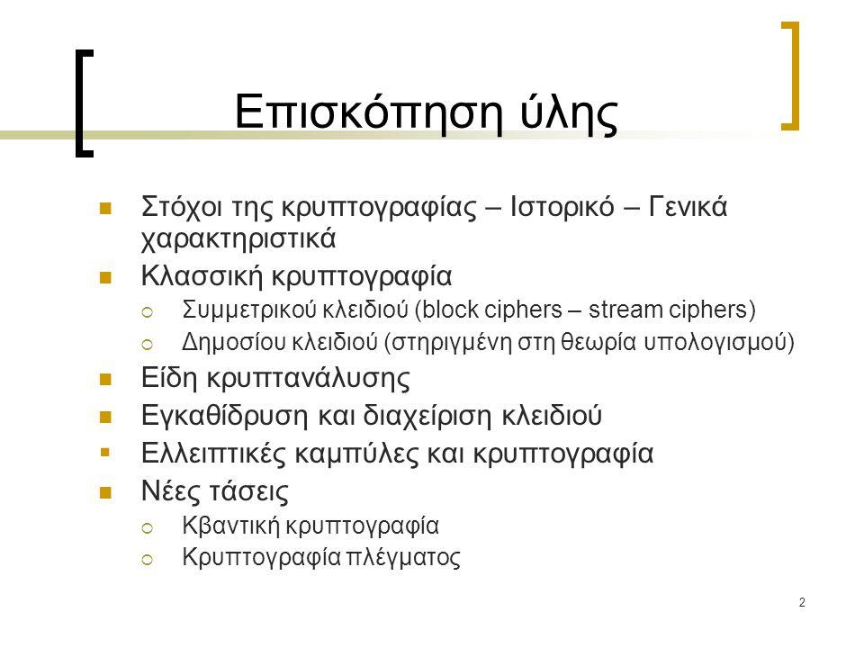 2 Επισκόπηση ύλης Στόχοι της κρυπτογραφίας – Ιστορικό – Γενικά χαρακτηριστικά Κλασσική κρυπτογραφία  Συμμετρικού κλειδιού (block ciphers – stream cip