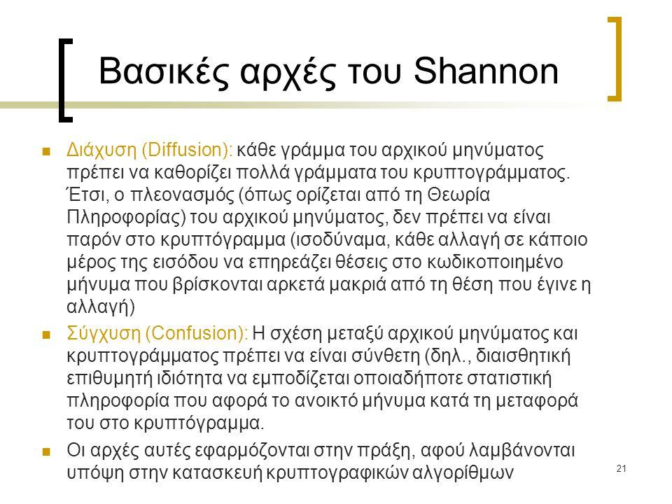 21 Βασικές αρχές του Shannon Διάχυση (Diffusion): κάθε γράμμα του αρχικού μηνύματος πρέπει να καθορίζει πολλά γράμματα του κρυπτογράμματος. Έτσι, ο πλ