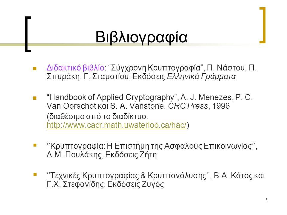 """3 Βιβλιογραφία Διδακτικό βιβλίο: """"Σύγχρονη Κρυπτογραφία"""", Π. Νάστου, Π. Σπυράκη, Γ. Σταματίου, Εκδόσεις Ελληνικά Γράμματα """"Handbook of Applied Cryptog"""