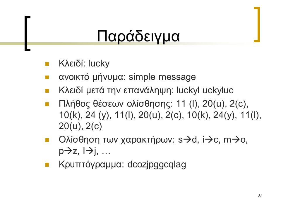 37 Παράδειγμα Κλειδί: lucky ανοικτό μήνυμα: simple message Κλειδί μετά την επανάληψη: luckyl uckyluc Πλήθος θέσεων ολίσθησης: 11 (l), 20(u), 2(c), 10(