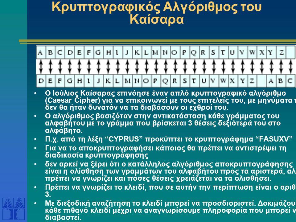 Κρυπτογραφικός Αλγόριθμος του Καίσαρα Ο Ιούλιος Καίσαρας επινόησε έναν απλό κρυπτογραφικό αλγόριθμο (Caesar Cipher) για να επικοινωνεί με τους επιτελε