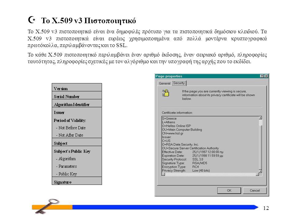 12 Z Το X.509 v3 Πιστοποιητικό Το X.509 v3 πιστοποιητικό είναι ένα δημοφιλές πρότυπο για τα πιστοποιητικά δημόσιου κλειδιού.