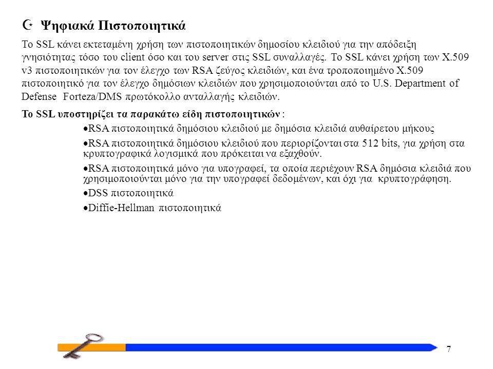 7 Z Ψηφιακά Πιστοποιητικά Το SSL κάνει εκτεταμένη χρήση των πιστοποιητικών δημοσίου κλειδιού για την απόδειξη γνησιότητας τόσο του client όσο και του