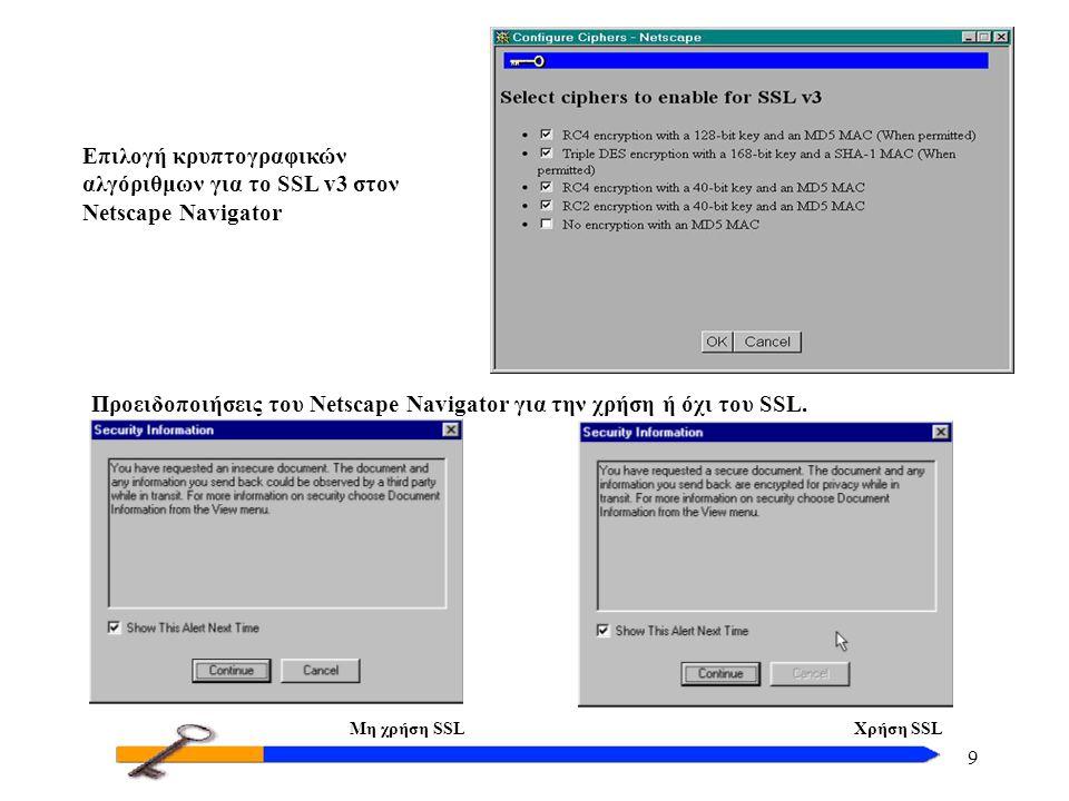 9 Προειδοποιήσεις του Netscape Navigator για την χρήση ή όχι του SSL. Επιλογή κρυπτογραφικών αλγόριθμων για το SSL v3 στον Netscape Navigator Μη χρήση