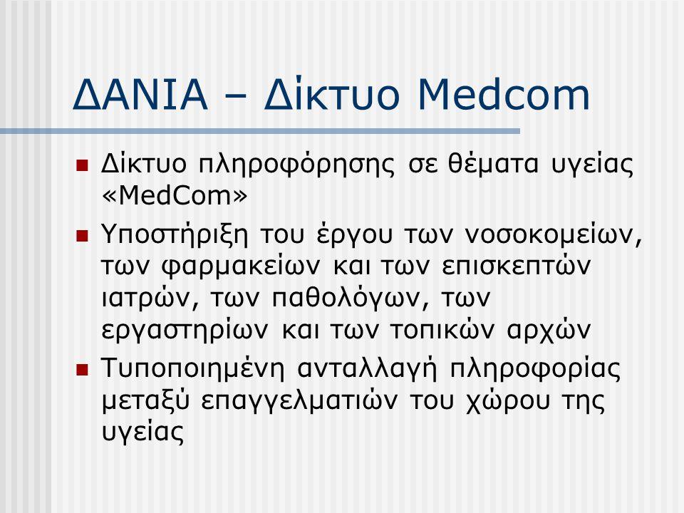 ΔΑΝΙΑ – Δίκτυο Medcom Δίκτυο πληροφόρησης σε θέματα υγείας «MedCom» Υποστήριξη του έργου των νοσοκομείων, των φαρμακείων και των επισκεπτών ιατρών, τω