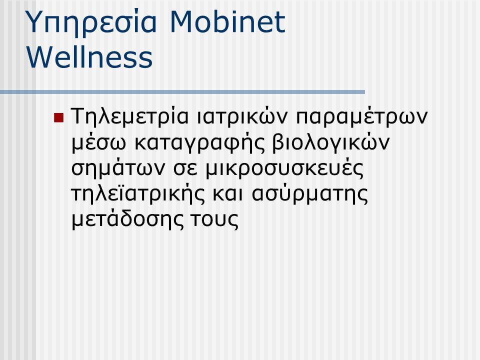 Υπηρεσία Mobinet Wellness Τηλεμετρία ιατρικών παραμέτρων μέσω καταγραφής βιολογικών σημάτων σε μικροσυσκευές τηλεϊατρικής και ασύρματης μετάδοσης τους