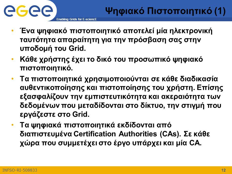 Enabling Grids for E-sciencE INFSO-RI-508833 12 Ψηφιακό Πιστοποιητικό (1) Ένα ψηφιακό πιστοποιητικό αποτελεί μία ηλεκτρονική ταυτότητα απαραίτητη για