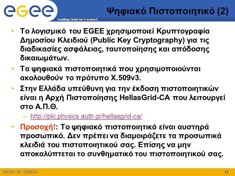 Enabling Grids for E-sciencE INFSO-RI-508833 13 Ψηφιακό Πιστοποιητικό (2) Το λογισμικό του EGEE χρησιμοποιεί Κρυπτογραφία Δημοσίου Κλειδιού (Public Ke
