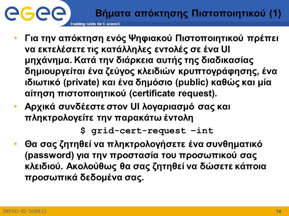 Enabling Grids for E-sciencE INFSO-RI-508833 14 Βήματα απόκτησης Πιστοποιητικού (1) Για την απόκτηση ενός Ψηφιακού Πιστοποιητικού πρέπει να εκτελέσετε