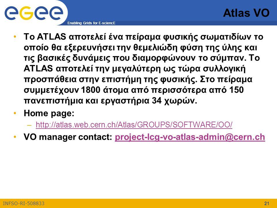 Enabling Grids for E-sciencE INFSO-RI-508833 21 Atlas VO Το ATLAS αποτελεί ένα πείραμα φυσικής σωματιδίων το οποίο θα εξερευνήσει την θεμελιώδη φύση τ