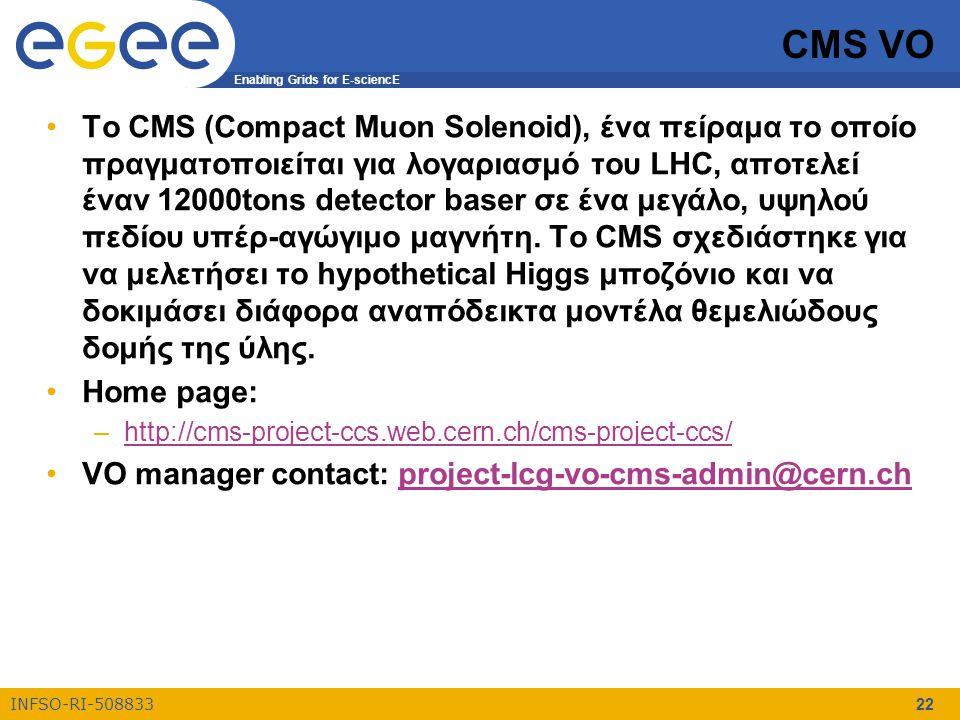 Enabling Grids for E-sciencE INFSO-RI-508833 22 CMS VO Το CMS (Compact Muon Solenoid), ένα πείραμα το οποίο πραγματοποιείται για λογαριασμό του LHC, α