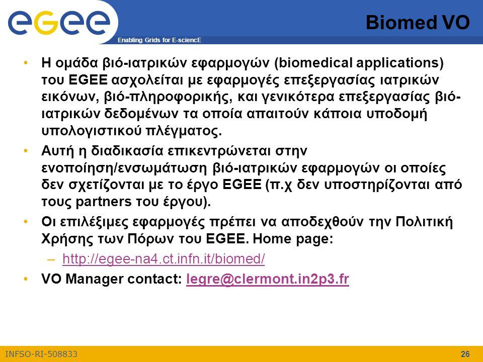 Enabling Grids for E-sciencE INFSO-RI-508833 26 Biomed VO Η ομάδα βιό-ιατρικών εφαρμογών (biomedical applications) του EGEE ασχολείται με εφαρμογές επ