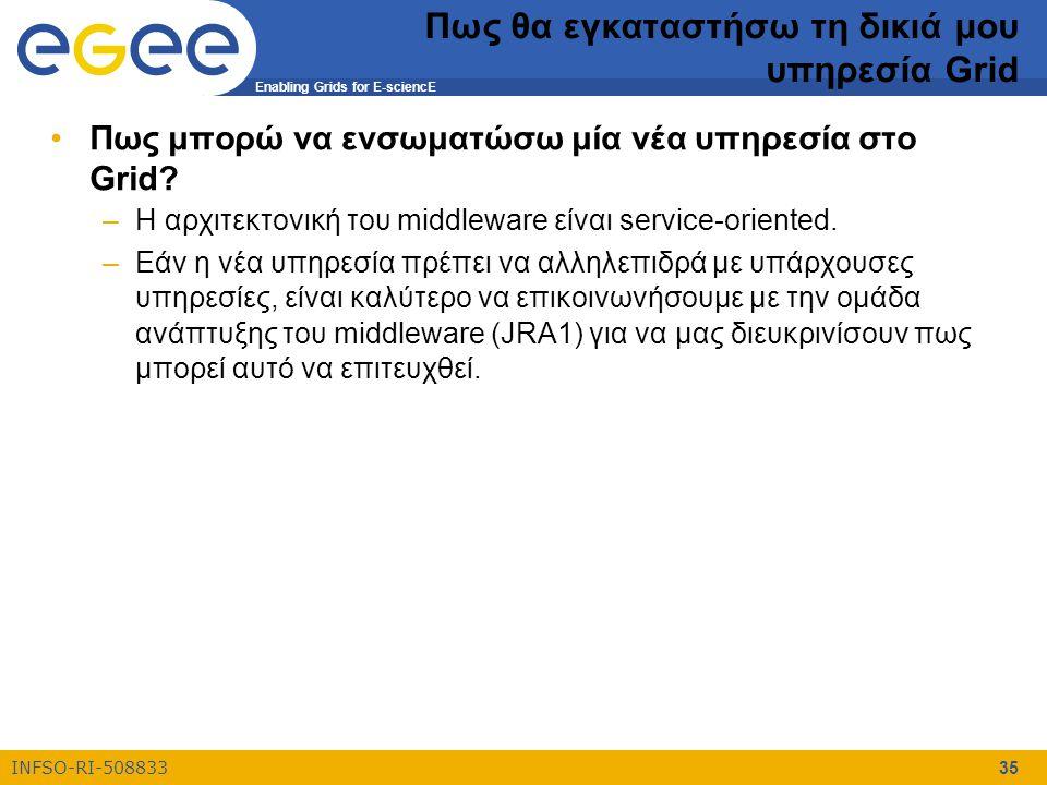 Enabling Grids for E-sciencE INFSO-RI-508833 35 Πως θα εγκαταστήσω τη δικιά μου υπηρεσία Grid Πως μπορώ να ενσωματώσω μία νέα υπηρεσία στο Grid? –Η αρ