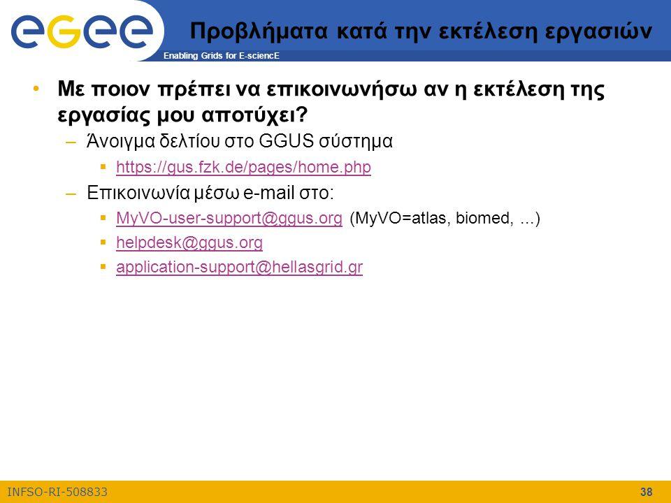 Enabling Grids for E-sciencE INFSO-RI-508833 38 Προβλήματα κατά την εκτέλεση εργασιών Με ποιον πρέπει να επικοινωνήσω αν η εκτέλεση της εργασίας μου α