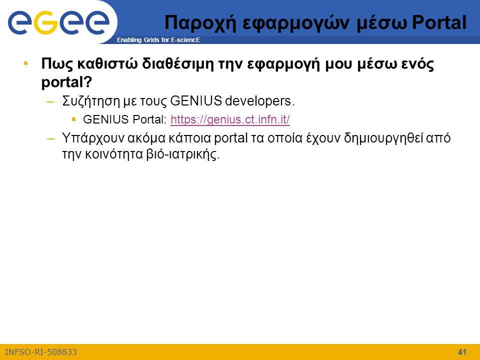 Enabling Grids for E-sciencE INFSO-RI-508833 41 Παροχή εφαρμογών μέσω Portal Πως καθιστώ διαθέσιμη την εφαρμογή μου μέσω ενός portal? –Συζήτηση με του