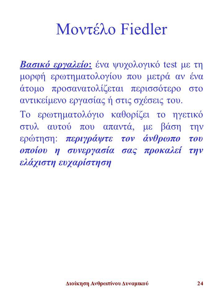 Διοίκηση Ανθρωπίνου Δυναμικού24 Μοντέλο Fiedler Βασικό εργαλείο: ένα ψυχολογικό test με τη μορφή ερωτηματολογίου που μετρά αν ένα άτομο προσανατολίζετ