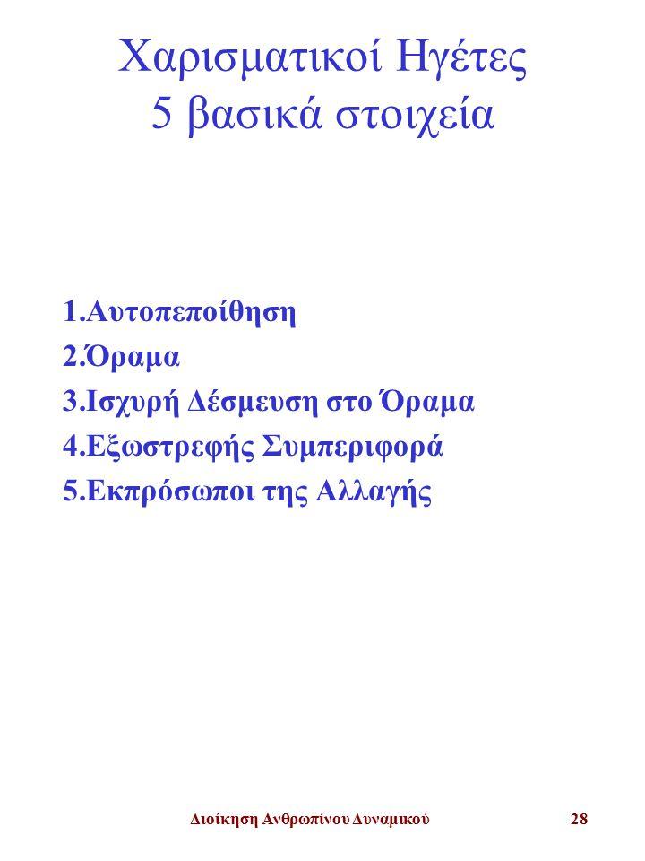 Διοίκηση Ανθρωπίνου Δυναμικού28 Χαρισματικοί Ηγέτες 5 βασικά στοιχεία 1.Αυτοπεποίθηση 2.Όραμα 3.Ισχυρή Δέσμευση στο Όραμα 4.Εξωστρεφής Συμπεριφορά 5.Εκπρόσωποι της Αλλαγής