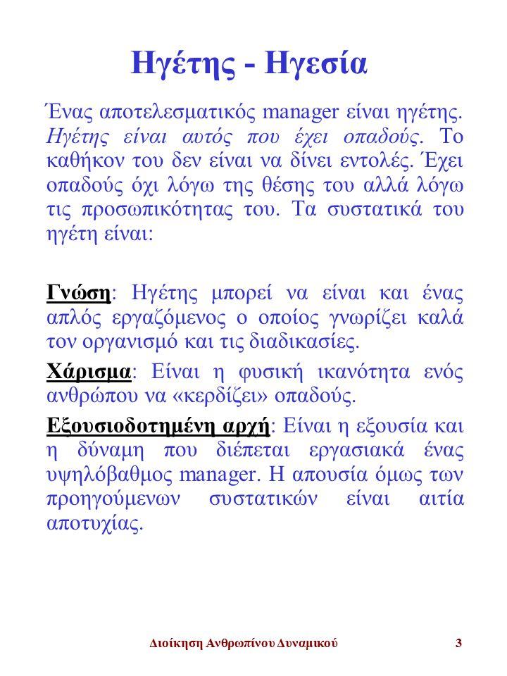 Διοίκηση Ανθρωπίνου Δυναμικού14 Άξονες Διαφορών Μεταξύ Διοίκησης και Ηγεσίας Οι ρόλοι του Manager και του Ηγέτη διαφοροποιούνται στα εξής σημεία: Δημιουργία Περιεχομένου Δράσης Ανάπτυξη Δικτύου Ανθρώπων για την Υλοποίηση του Περιεχομένου Υλοποίηση Αποτέλεσμα Ο Drucker έκανε έναν επιτυχημένο διαχωρισμό της ηγετικής με την απλώς οργανωτικο-διεκπαιραιωτική πτυχή της διοίκησης που συνοψίζεται στους όρους : effective (αυτός που κάνει το καλύτερο) efficient (αυτός που κάνει κάτι καλά)