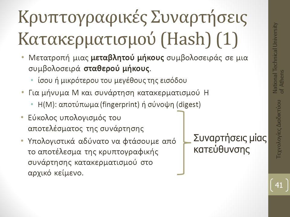 Κρυπτογραφικές Συναρτήσεις Κατακερματισμού (Hash) (1) Μετατροπή μιας μεταβλητού μήκους συμβολοσειράς σε μια συμβολοσειρά σταθερού μήκους. ίσου ή μικρό