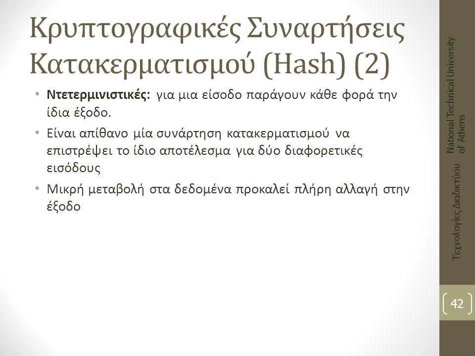 Κρυπτογραφικές Συναρτήσεις Κατακερματισμού (Hash) (2) National Technical University of Athens Τεχνολογίες Διαδικτύου 42 Ντετερμινιστικές: για μια είσο