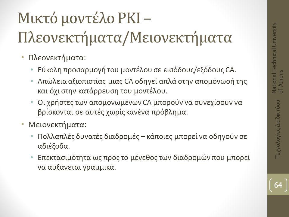 Μικτό μοντέλο PKI – Πλεονεκτήματα/Μειονεκτήματα Πλεονεκτήματα: Εύκολη προσαρμογή του μοντέλου σε εισόδους/εξόδους CA. Απώλεια αξιοπιστίας μιας CA οδηγ