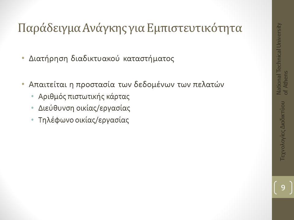 Ψηφιακή (Ηλεκτρονική) Υπογραφή (4) Πλεονεκτήματα: Αυθεντικοποίηση του αποστολέα του μηνύματος (χρήση ιδιωτικού κλειδιού) Διατήρηση ακεραιότητας: η παραμικρή αλλαγή στο μήνυμα ακυρώνει την ψηφιακή υπογραφή Μειονεκτήματα Προβλήματα σε περίπτωση κλοπής του ιδιωτικού κλειδιού National Technical University of Athens Τεχνολογίες Διαδικτύου 50