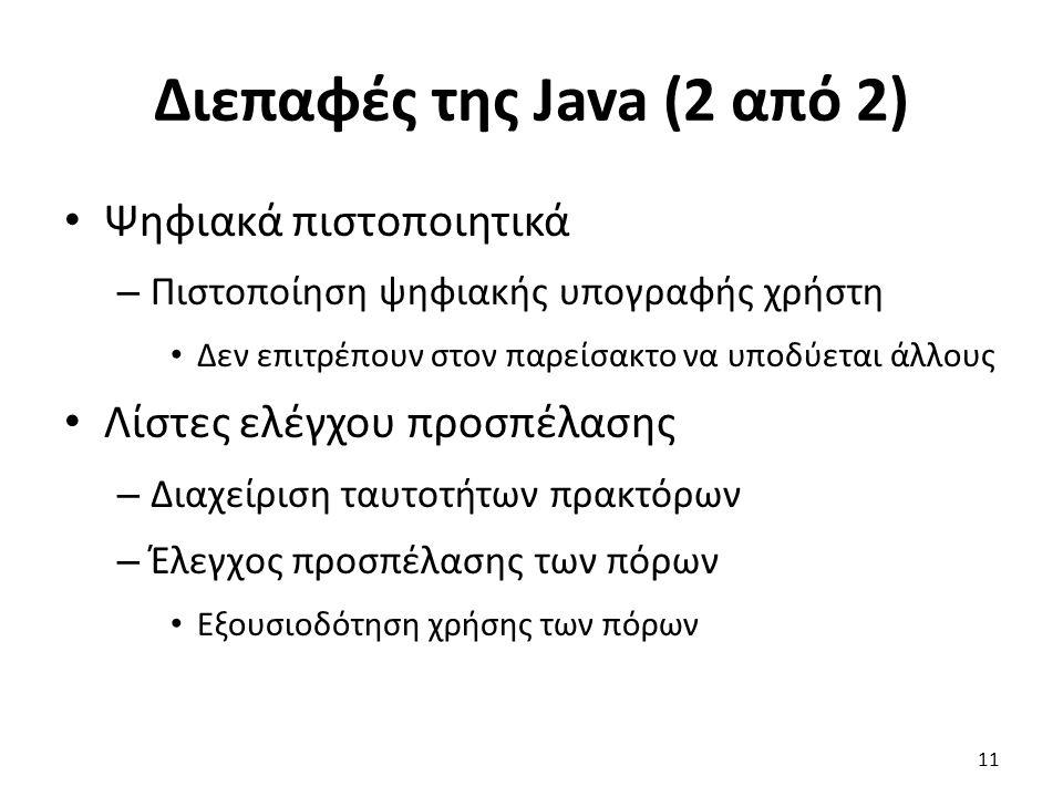Διεπαφές της Java (2 από 2) Ψηφιακά πιστοποιητικά – Πιστοποίηση ψηφιακής υπογραφής χρήστη Δεν επιτρέπουν στον παρείσακτο να υποδύεται άλλους Λίστες ελέγχου προσπέλασης – Διαχείριση ταυτοτήτων πρακτόρων – Έλεγχος προσπέλασης των πόρων Εξουσιοδότηση χρήσης των πόρων 11