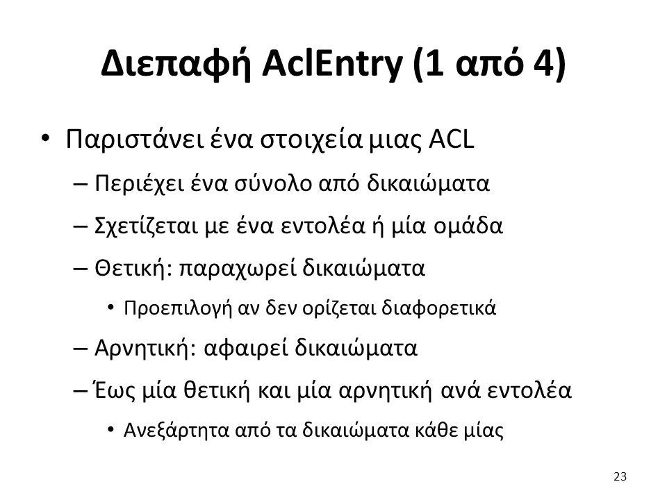 Διεπαφή AclEntry (1 από 4) Παριστάνει ένα στοιχεία μιας ACL – Περιέχει ένα σύνολο από δικαιώματα – Σχετίζεται με ένα εντολέα ή μία ομάδα – Θετική: παραχωρεί δικαιώματα Προεπιλογή αν δεν ορίζεται διαφορετικά – Αρνητική: αφαιρεί δικαιώματα – Έως μία θετική και μία αρνητική ανά εντολέα Ανεξάρτητα από τα δικαιώματα κάθε μίας 23