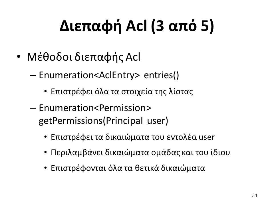 Διεπαφή Acl (3 από 5) Μέθοδοι διεπαφής Acl – Enumeration entries() Επιστρέφει όλα τα στοιχεία της λίστας – Enumeration getPermissions(Principal user) Επιστρέφει τα δικαιώματα του εντολέα user Περιλαμβάνει δικαιώματα ομάδας και του ίδιου Επιστρέφονται όλα τα θετικά δικαιώματα 31