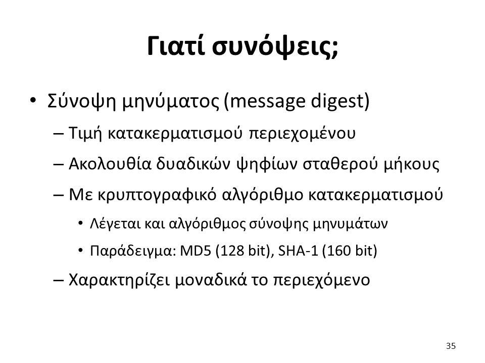 Γιατί συνόψεις; Σύνοψη μηνύματος (message digest) – Τιμή κατακερματισμού περιεχομένου – Ακολουθία δυαδικών ψηφίων σταθερού μήκους – Με κρυπτογραφικό αλγόριθμο κατακερματισμού Λέγεται και αλγόριθμος σύνοψης μηνυμάτων Παράδειγμα: MD5 (128 bit), SHA-1 (160 bit) – Χαρακτηρίζει μοναδικά το περιεχόμενο 35