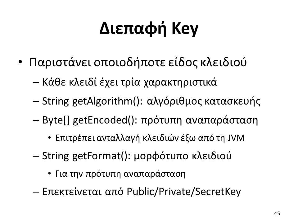 Διεπαφή Key Παριστάνει οποιοδήποτε είδος κλειδιού – Κάθε κλειδί έχει τρία χαρακτηριστικά – String getAlgorithm(): αλγόριθμος κατασκευής – Byte[] getEncoded(): πρότυπη αναπαράσταση Επιτρέπει ανταλλαγή κλειδιών έξω από τη JVM – String getFormat(): μορφότυπο κλειδιού Για την πρότυπη αναπαράσταση – Επεκτείνεται από Public/Private/SecretKey 45