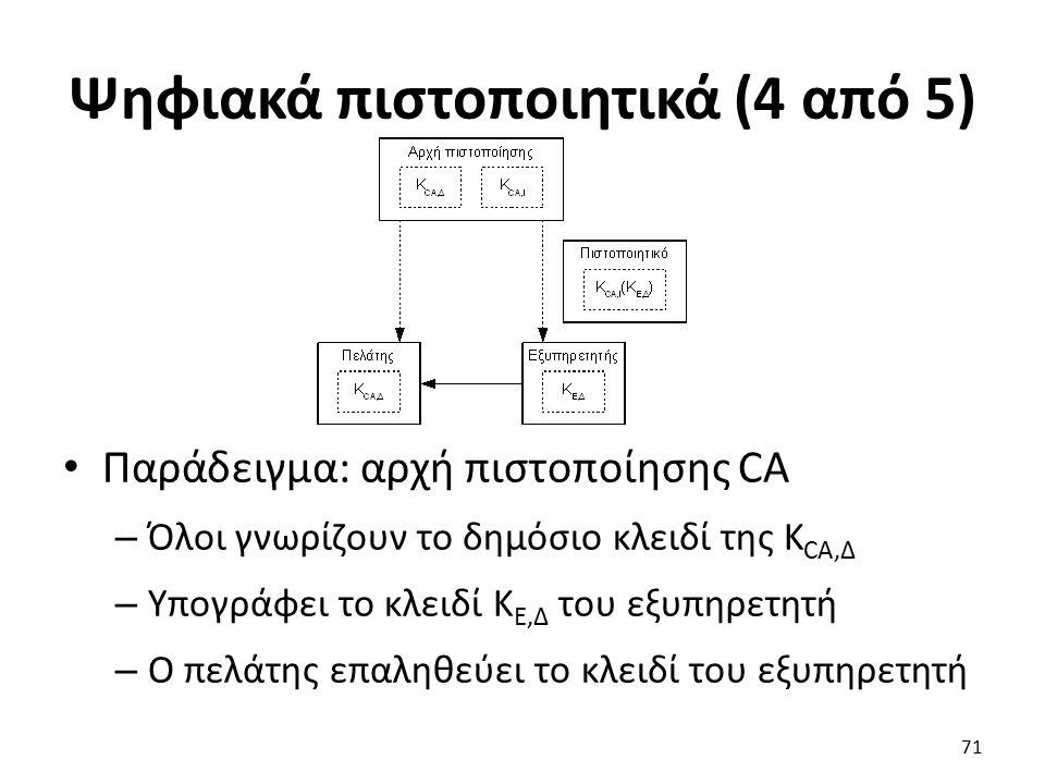 Ψηφιακά πιστοποιητικά (4 από 5) Παράδειγμα: αρχή πιστοποίησης CA – Όλοι γνωρίζουν το δημόσιο κλειδί της K CA,Δ – Υπογράφει το κλειδί Κ Ε,Δ του εξυπηρετητή – Ο πελάτης επαληθεύει το κλειδί του εξυπηρετητή 71