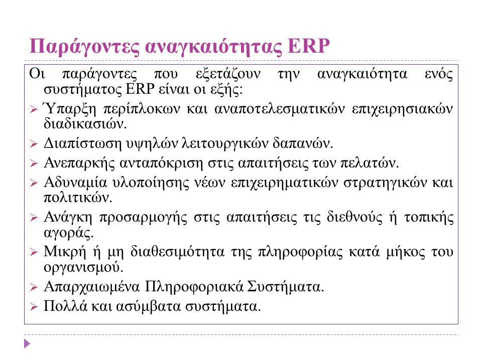 Παράγοντες αναγκαιότητας ERP Οι παράγοντες που εξετάζουν την αναγκαιότητα ενός συστήματος ERP είναι οι εξής:  Ύπαρξη περίπλοκων και αναποτελεσματικών