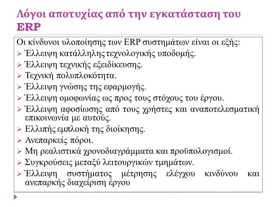 Λόγοι αποτυχίας από την εγκατάσταση του ERP Οι κίνδυνοι υλοποίησης των ERP συστημάτων είναι οι εξής:  Έλλειψη κατάλληλης τεχνολογικής υποδομής.  Έλλ