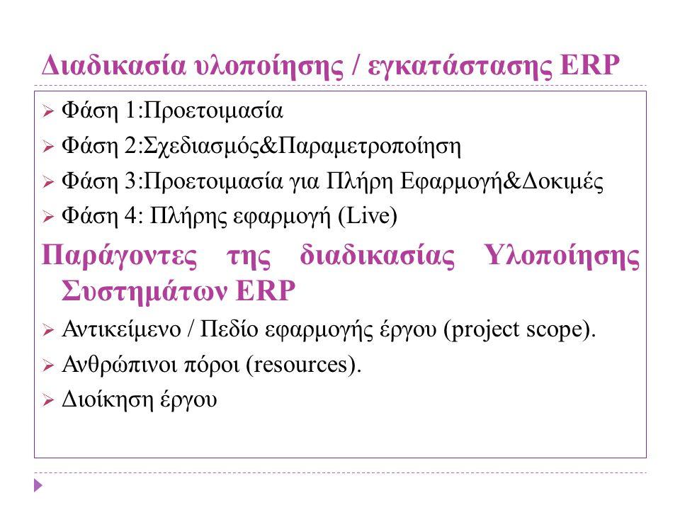 Διαδικασία υλοποίησης / εγκατάστασης ERP  Φάση 1:Προετοιμασία  Φάση 2:Σχεδιασμός&Παραμετροποίηση  Φάση 3:Προετοιμασία για Πλήρη Εφαρμογή&Δοκιμές 
