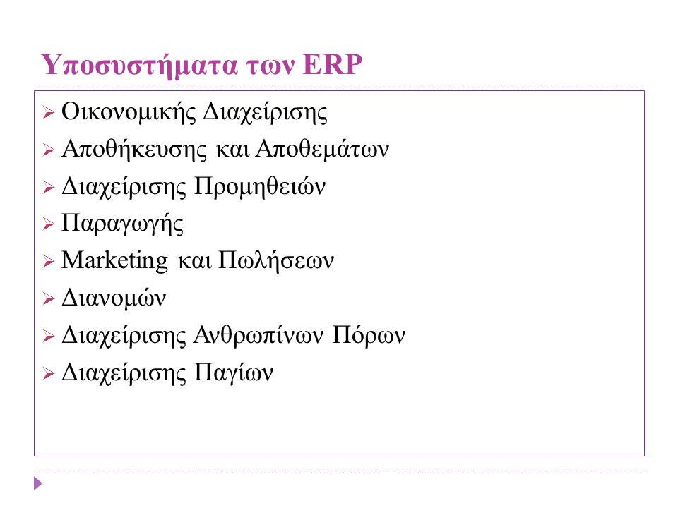 Υποσυστήματα των ERP  Οικονομικής Διαχείρισης  Αποθήκευσης και Αποθεμάτων  Διαχείρισης Προμηθειών  Παραγωγής  Marketing και Πωλήσεων  Διανομών 