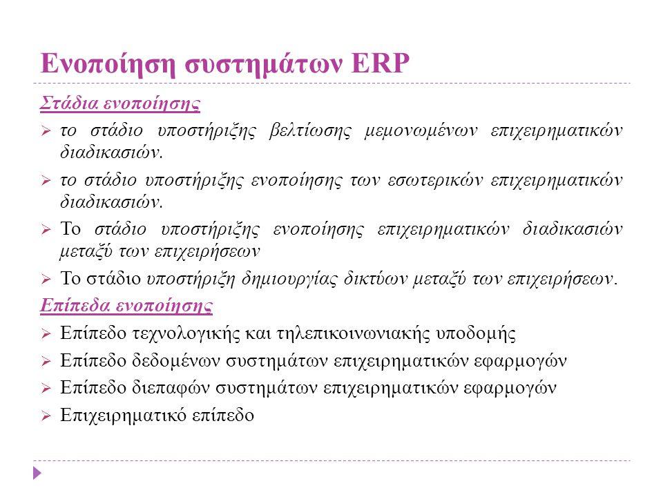 Ενοποίηση συστημάτων ERP Στάδια ενοποίησης  το στάδιο υποστήριξης βελτίωσης μεμονωμένων επιχειρηματικών διαδικασιών.  το στάδιο υποστήριξης ενοποίησ